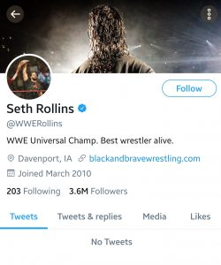 #NEWS: Seth Rollins Deactivates His Twitter Account